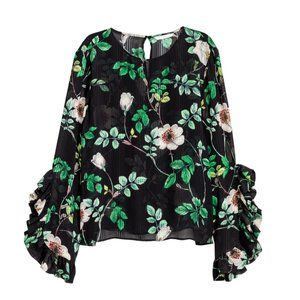 H&M Floral Print Ruffle Bell Sleeve Blouse